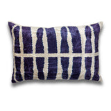 Indigo Stripes Silk Velvet IKAT Pillow