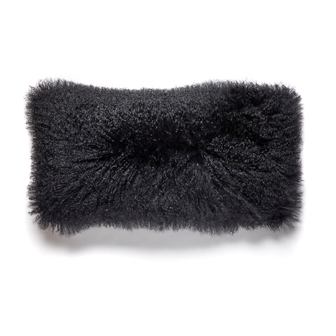 Extra Long Black Pure Tibetan Lamb Fur Pillow