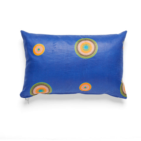 African Wax Print Blue Lumbar Cushion