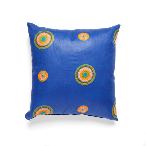 African Wax Print Blue Square Cushion