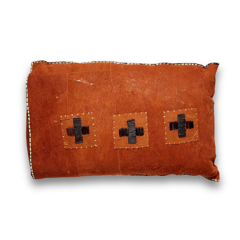 Rust African Tree Bark Cloth Pillow