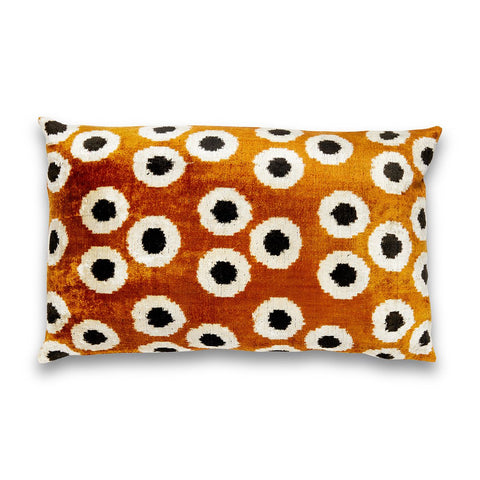 Rich Brown & Black Silk Velvet IKAT Pillow