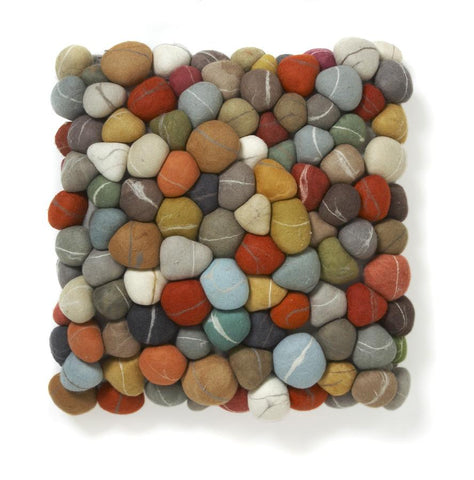 Pebble Pillow Multi Colored Felted Wool by Ronel Jordaan