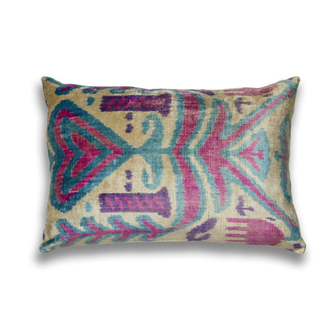 Silk Velvet IKAT Purple and Pinks Lumbar Pillow