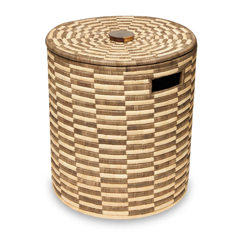 Brown Checkered Storage Basket