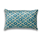 Silk Velvet IKAT Blue and Cream Lumbar Pillow