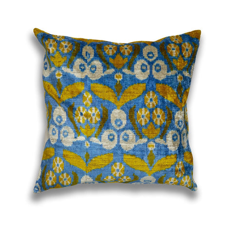 Silk Velvet IKAT Blue and Yellow Square Pillow
