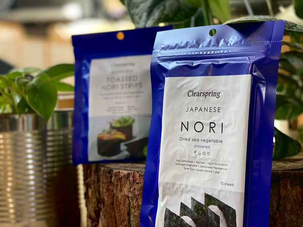 Japanese Nori in blue Clearspring packet with plants in background