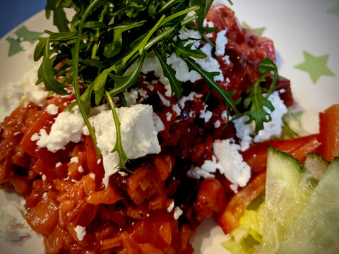 Beetroot Risotto with Vegan Feta