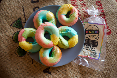 Traditional Bagel Company Rainbow Bagels on plate