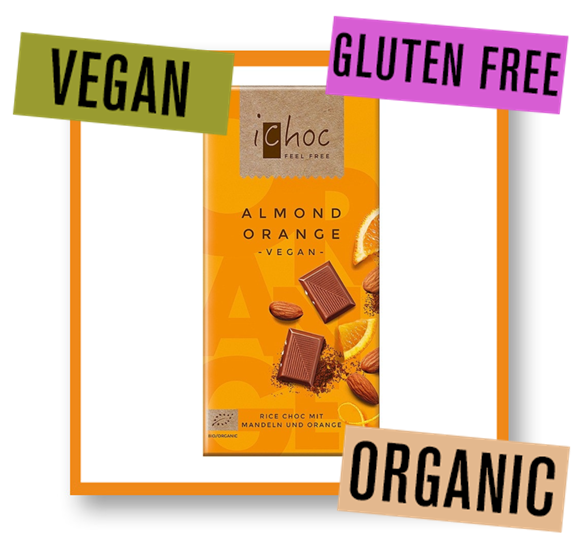 iChoc Organic Almond Orange Rice Chocolate Bar