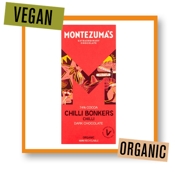 Montezuma Organic Chilli Bonkers 74% Dark Chocolate Bar