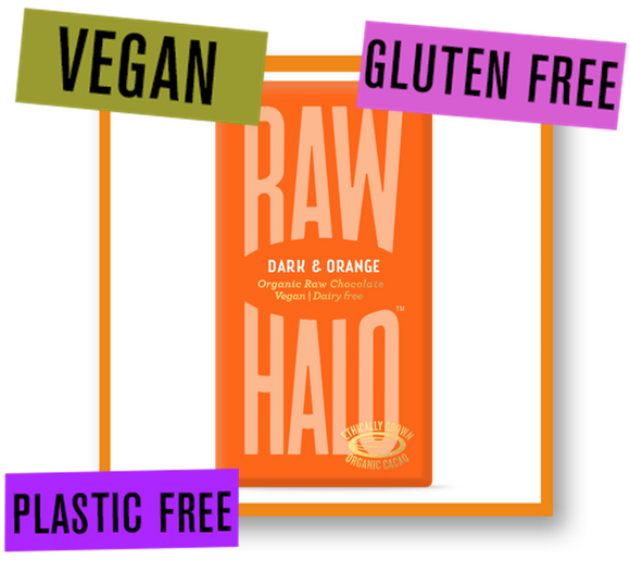 Raw Halo Organic Raw Chocolate Bar Dark with Orange