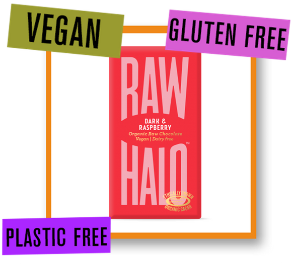 Raw Halo Organic Raw Chocolate Bar Dark with Raspberry