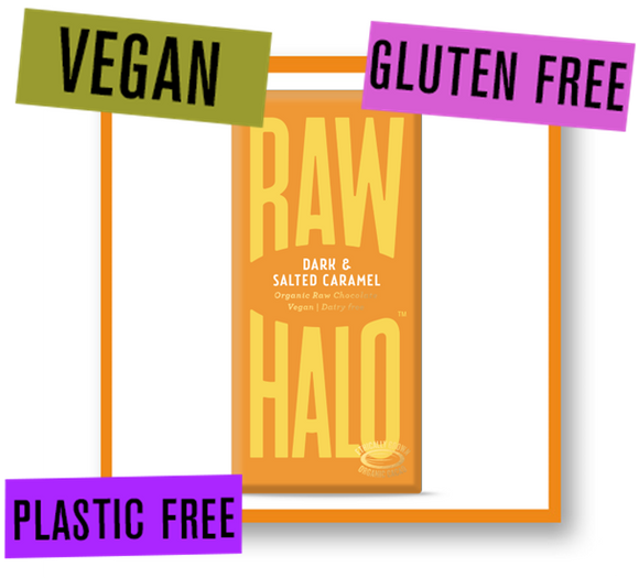 Raw Halo Organic Raw Chocolate Bar Dark with Salted Caramel