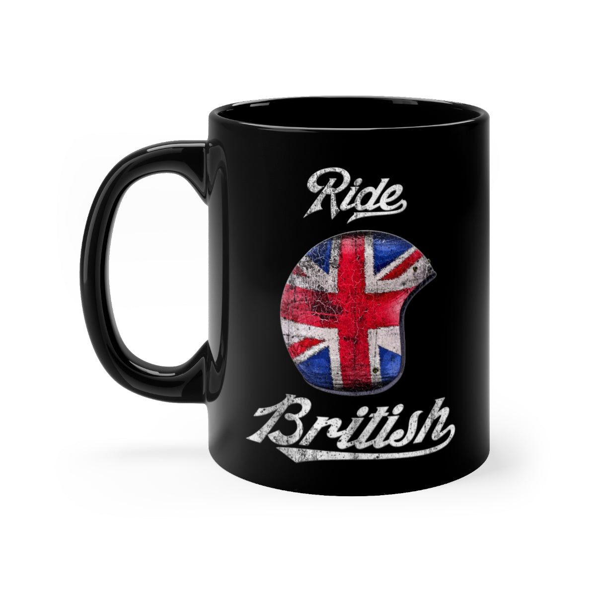 Ride British -Helmet Design - Black mug 11oz