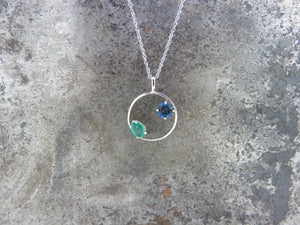 London Blue Topaz and Emerald Necklace