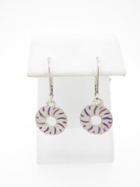 Small Millstone Earrings with Purple