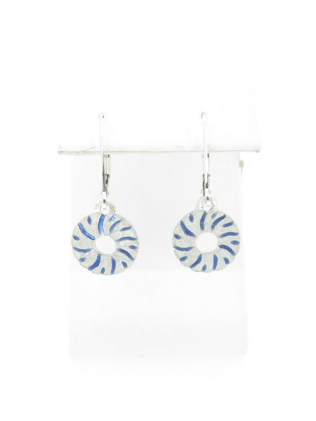 Small Millstone Earrings with Blue