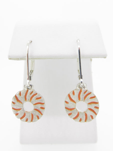 Small Millstone Earrings with Orange