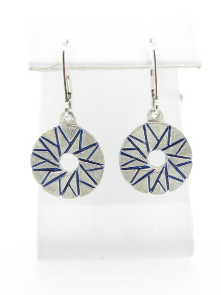Star Millstone Earrings with Blue