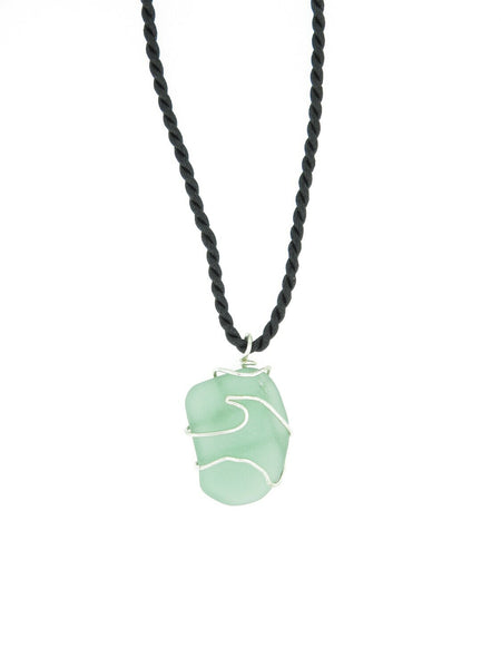 Green Wave Seaglass Necklace