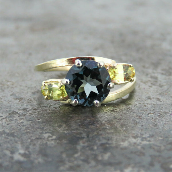 London Blue Topaz and Yellow Sapphire Ring