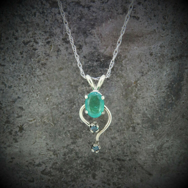 Emerald and Blue Diamond Necklace
