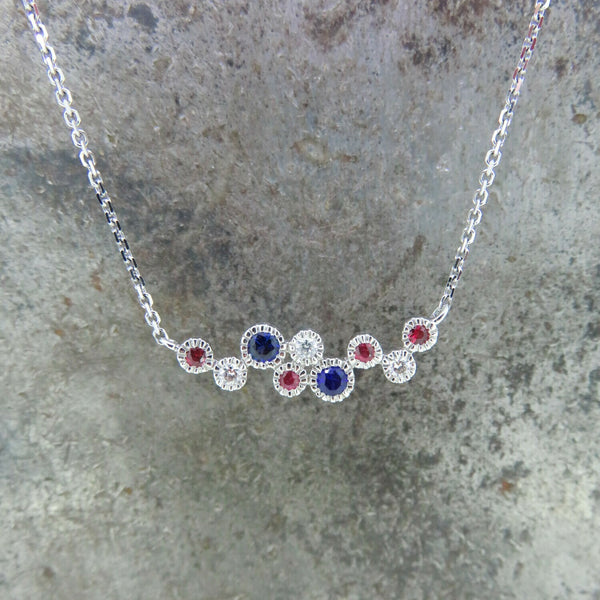 Sapphire, Ruby, and Diamond Necklace