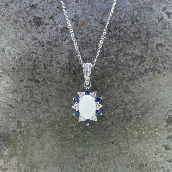Opal, Sapphire, and Diamond Necklace