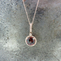 Rose Gold Garnet and Diamond Necklace