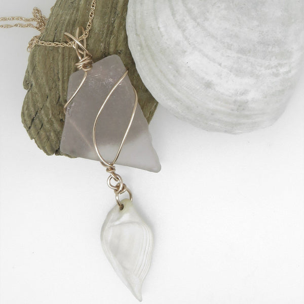 Pink Seaglass Necklace with Shell
