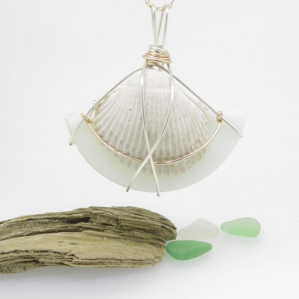 White Seaglass and Shell Necklace