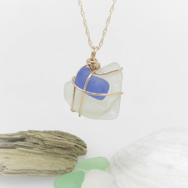 White and Blue Seaglass Necklace