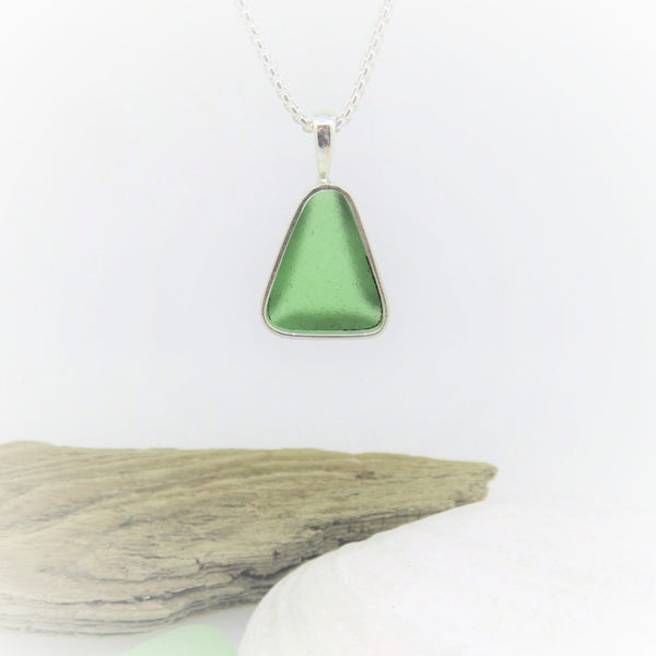 Light Green Bezel Set Seaglass Necklace