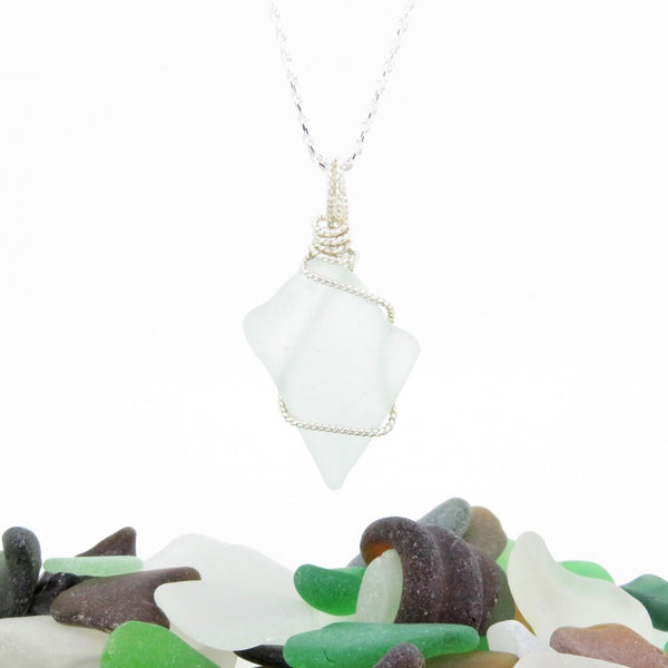 Reversable White Seaglass Necklace