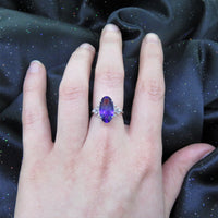 Oval Amethyst Ring with Diamonds