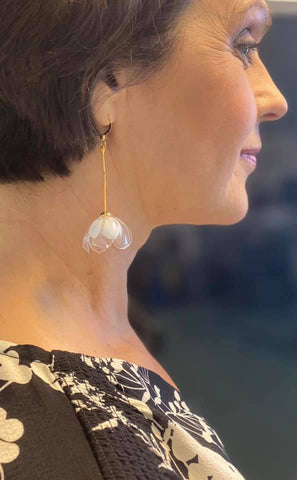 Yle Areena TV announcer recycled sustainable upcycled elegant flower fairy earrings, bridal wedding jewelry, jasmine flower earring recycled from PET plastic bottles