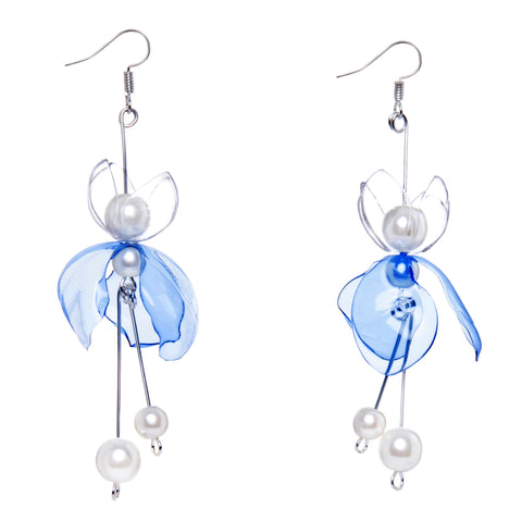 Sustainable jewelry - recycled blue lake drop earrings