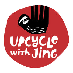 upcycle with jing logo, sustainable jewelry, eco friendly handmade in Finland, elegant flower jewelry made from recycled plastic bottles