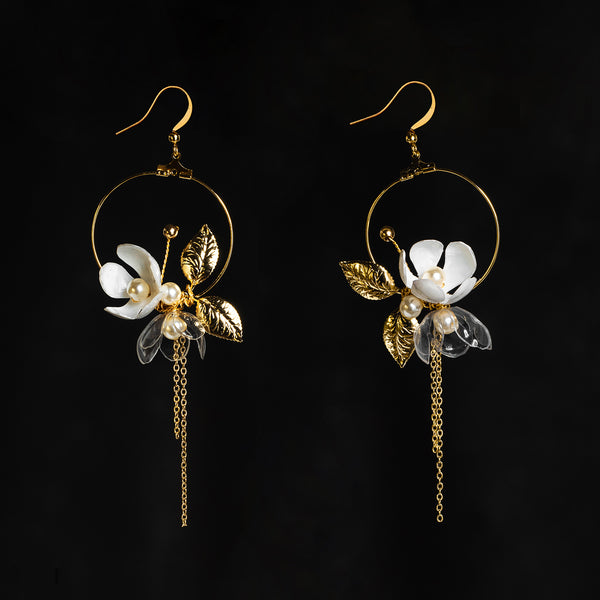 Upcycle with Jing floral moon earrings