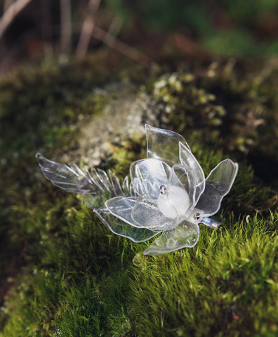 elegant flower brooch in Finnish nature, recycled from plastic bottle, wedding jewelry