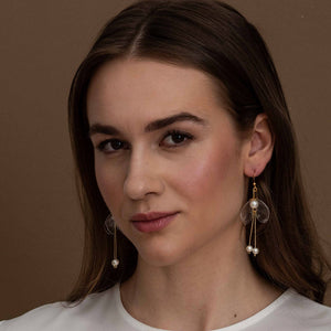 Sustainable jewelry - Clear Lily Double-Drop Earrings