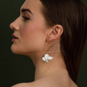 Dainty upcycled white orchid drop earrings