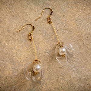 Clear Lily Drop Earrings