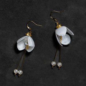 White Lily Double-Drop Earrings