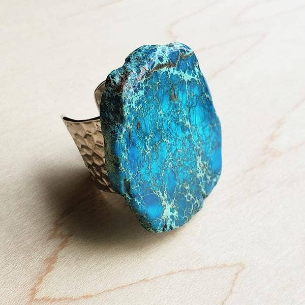 Blue Regalite Slab Ring = (Courage & Wisdom)