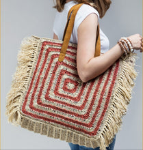 Load image into Gallery viewer, Standing On Your SQuare - Oversized Jute Boho Bag