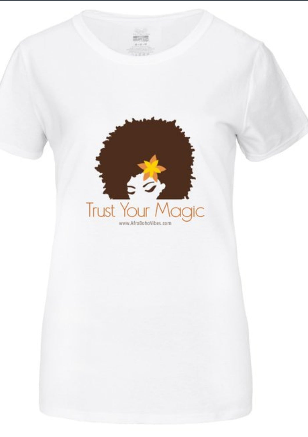 Trust Your Magic Tee - Afro Goddess White Tee