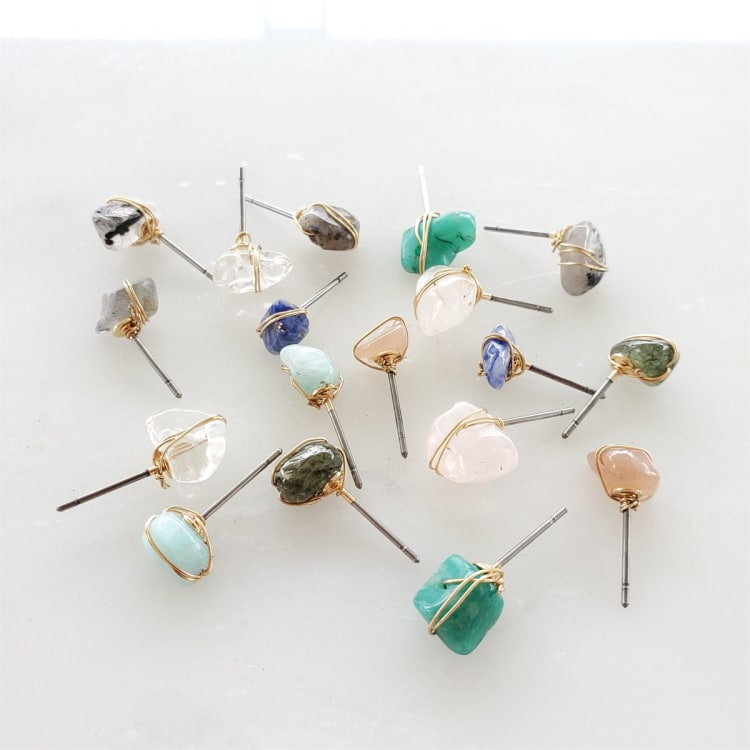 Healing Gemstone Stud Earrings